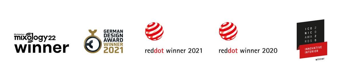 Loga čtyř ocenění: Reddot 2020, German Design Award 2021, Iconic Awards 2020 a Mixology Winner 2019. LayRed