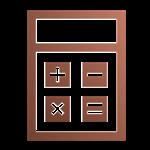 Tekening van een rekenmachine in de kleur brons