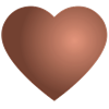 Tekening van een hart in de kleur brons