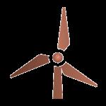 Tekening van een rekenmachine in de kleur brons Tekening van een windmolen in de kleur brons